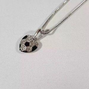 Jewelry - Rhinestone soccer pendant - heart shaped